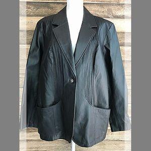 Denim & Co genuine black leather jacket blazer